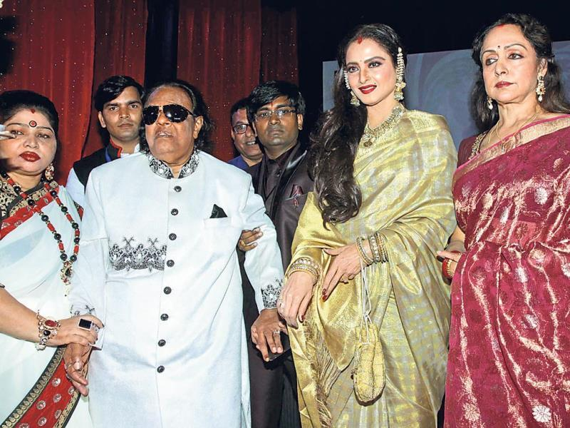 Actors Rekha and Hema Malini attended the 70th birthday celebration of music composer and lyricist Ravindra Jain.