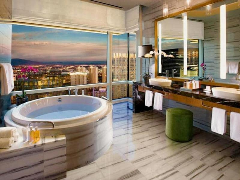 The tub at the Penthouse Real World Suite inside the Hard Rock Hotel & Casino Las Vegas can seat up to six people.(AFP)