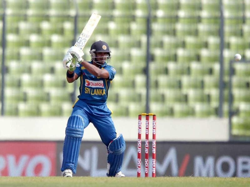 Sri Lankan batsman Kusal Perera plays a shot during the seventh match of the Asia Cup against Afghanistan at the Sher-e-Bangla National Cricket Stadium in Mirpur. (AFP Photo)