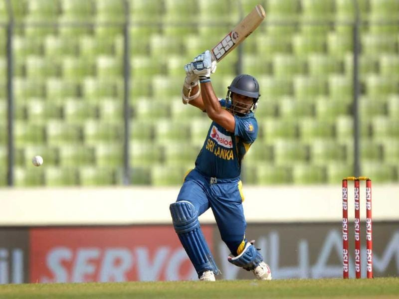 Sri Lankan batsman Kumar Sangakkara plays a shot during the seventh match of the Asia Cup against Afghanistan at the Sher-e-Bangla National Cricket Stadium in Mirpur. (AFP Photo)