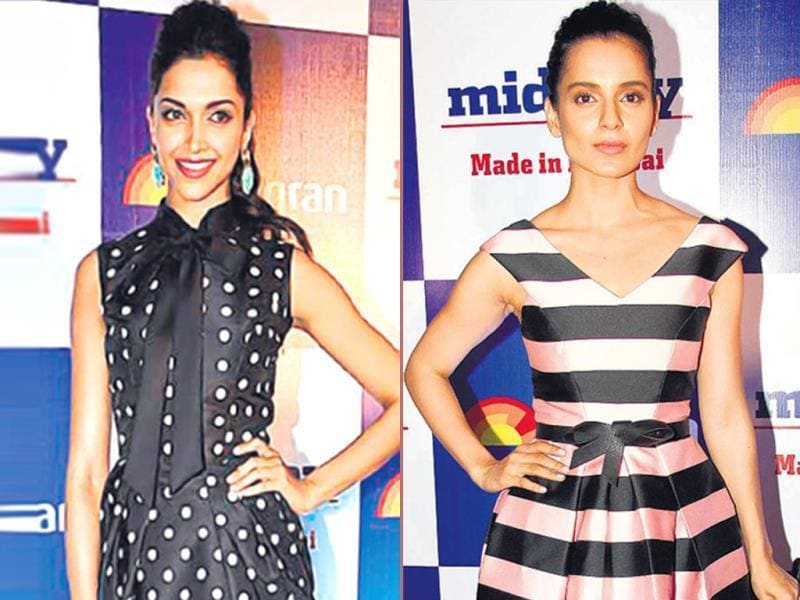Knotty fun: Deepika Padukone's Ashish Soni polka-dotted dress in monochrome with a bow-knot has a retro feel to it | Kangana Ranaut pins up a bow at her waist to the Topshop striped dress. (HT Photo)