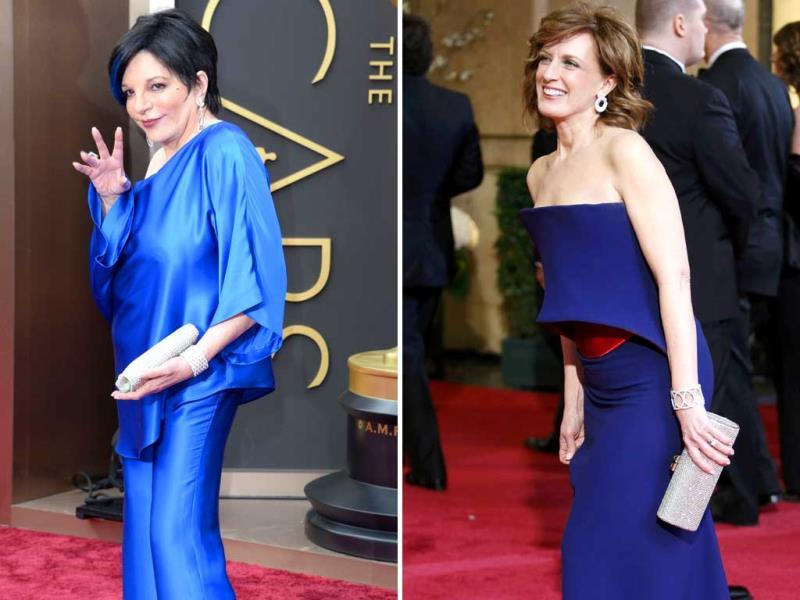 It's Oscars, not Broadway: US singer/actress Liza Minnelli's misshapen cobalt pants-and-tunic and matching blue hair highlights ensemble left us disappointed with a capital | Co-Chair of Disney Media and President of the Disney/ABC Television Group Anne Sweeney looked like a Star Wars character in her blue satin outfit. (Reuters)