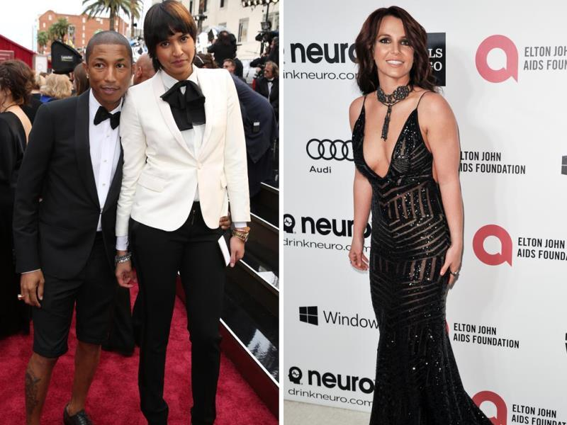 Singer-songwriter Pharrell Williams arrived at the Oscars wearing a pair of Lanvin shorts that showed off his tattooed calves. Not cool, right? POP princess Britney Spears skipped the Academy Awards and headed straight to the afterparty in her plunging, shimmering dark Michael Costello Couture gown and new auburn-tinted dark hair. The look didn't impress us much. (AP)