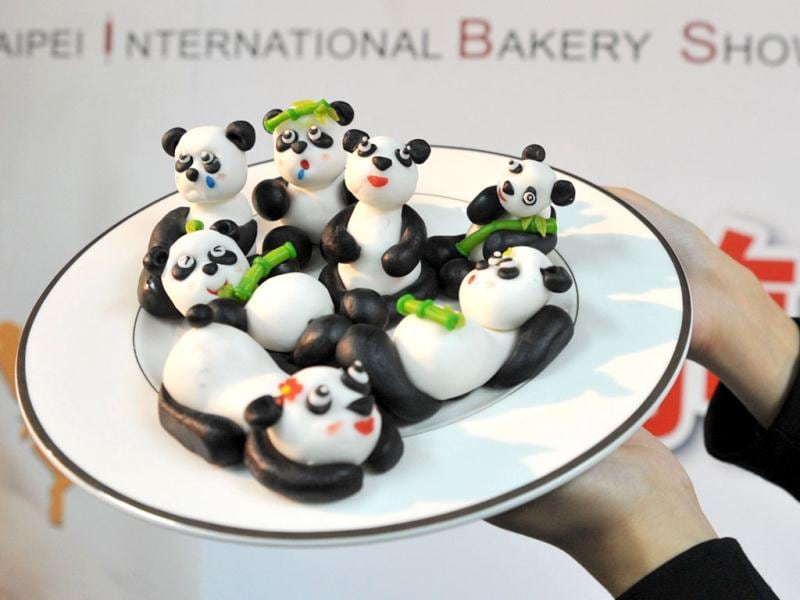 Panda-shaped desserts on display during the four-day Taipei International Bakery Show, where thousands of bakery booths from many countries will be displayed. (AFP)