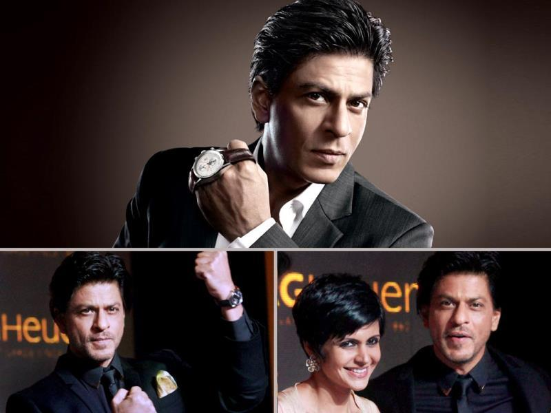Shah Rukh Khan, brand ambassador of Tag Heuer, unveiled its Golden Carrera collection in Mumbai on Monday. (PTI Photo)
