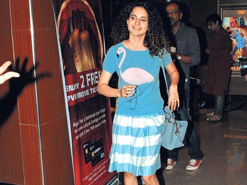 Kangana Ranaut at a movie screening in Juhu.