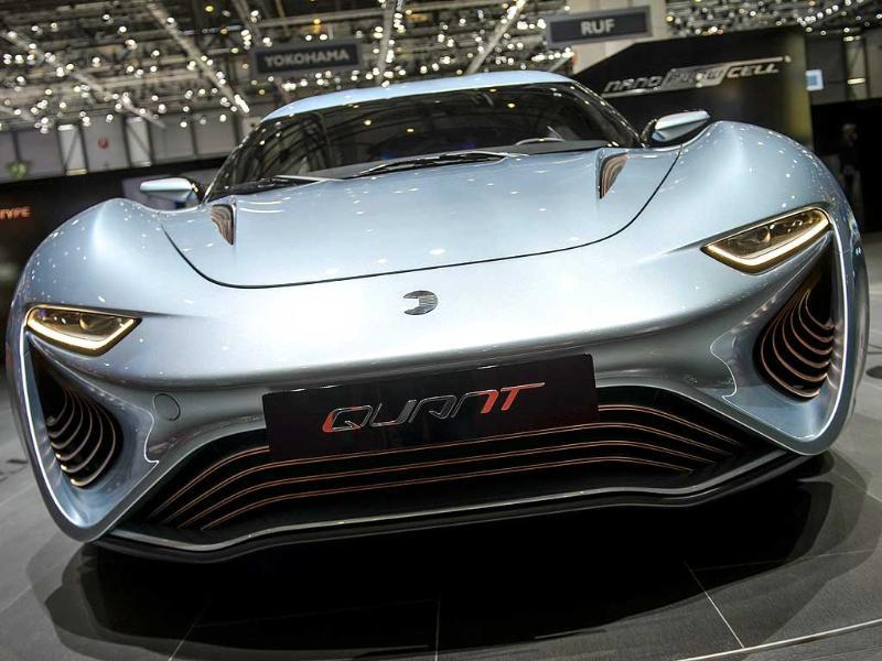 The Quant Nanoflowcell electric model car is displayed during the press day of the Geneva Motor Show. (AFP Photo)