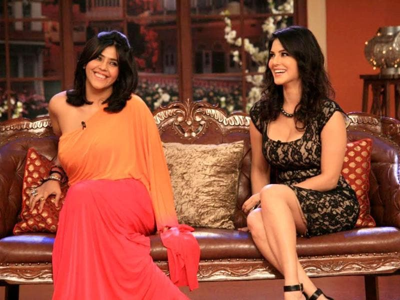 Ekta Kapoor and Sunny Leone in a still from Comedy Nights.