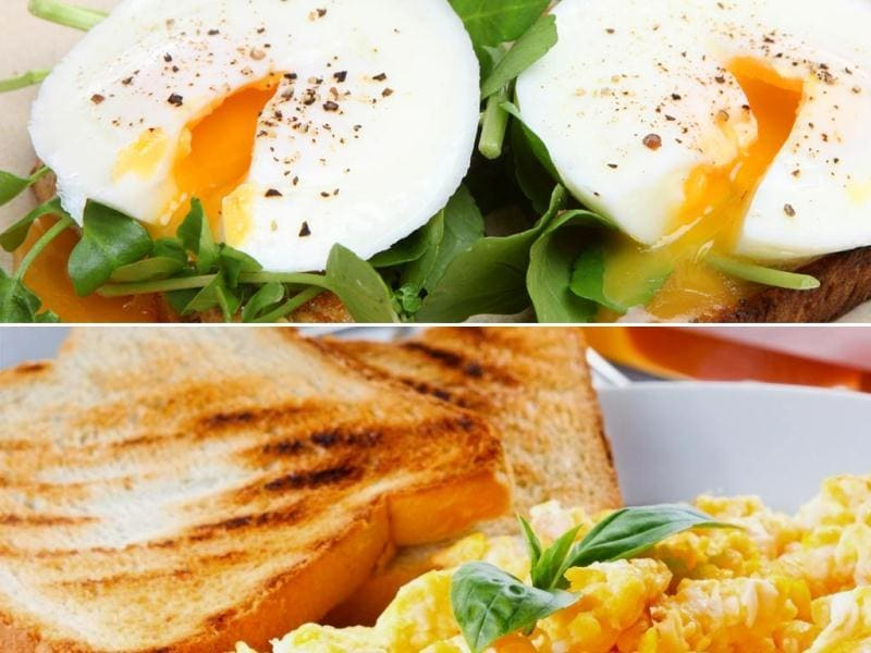 Eggs with peppers: If you love eggs, this is the breakfast for you. Egg whites are healthier than whole eggs, so scramble them with a little olive oil, red and green bell peppers, maybe broccoli, onions and black pepper. It goes well with whole-wheat toast.