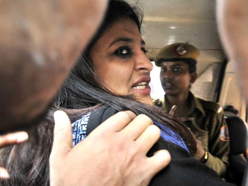 AAP leader Shazia Ilmi is arrested after Delhi Police registered an FIR in connection with the clashes outside the BJP national headquarters. (Mohd Zakir/HT Photo)