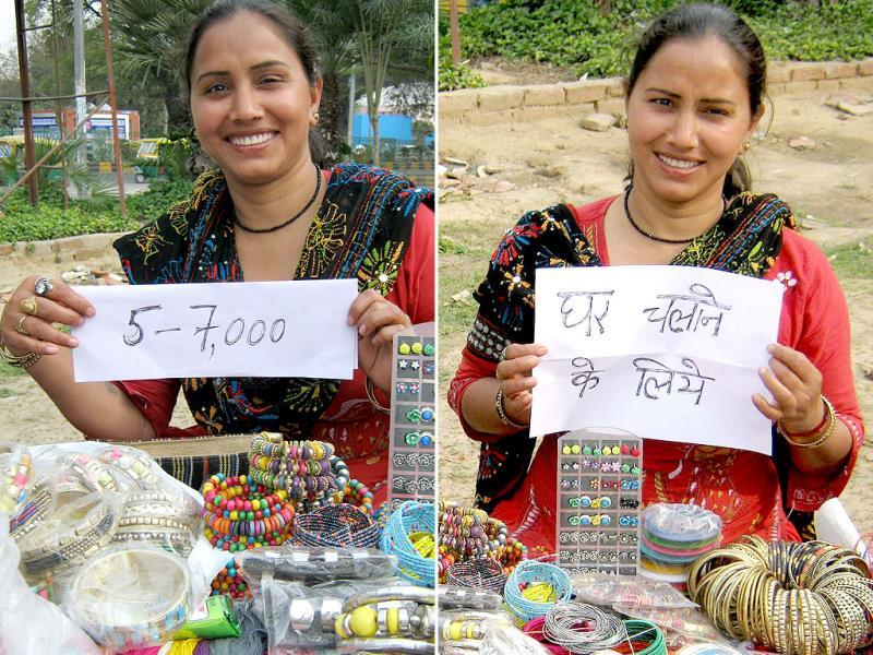 Rajni (37), a bead and mehndi artist, owns a small stall outside Dilli Haat near INA market. A mother of four, she is the only breadwinner in the family. She manages to earn Rs 5-7,000 every month.