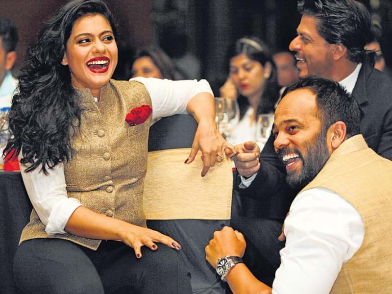 SRK and Kajol were seen chilling out late in the evening. With filmmaker Rohit Shetty here.