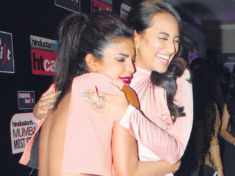 Sonakshi Sinha and Priyanka Chopra embraced like long-lost friends at the venue.