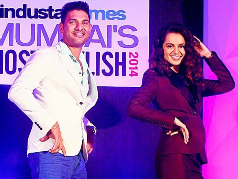 The dapper Yuvraj Singh received the award for HT Mumbai's Most Stylish Sports Personality from Kangana Ranaut.
