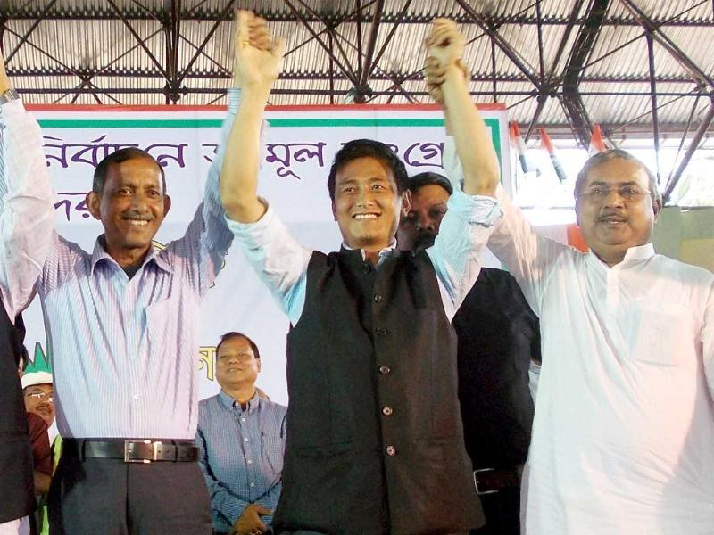 Former Indian football captain and TMC candidate from Darjeeling, Baichung Bhutia during campaigning for the upcoming LS polls in Siliguri on Tuesday. PTI Photo