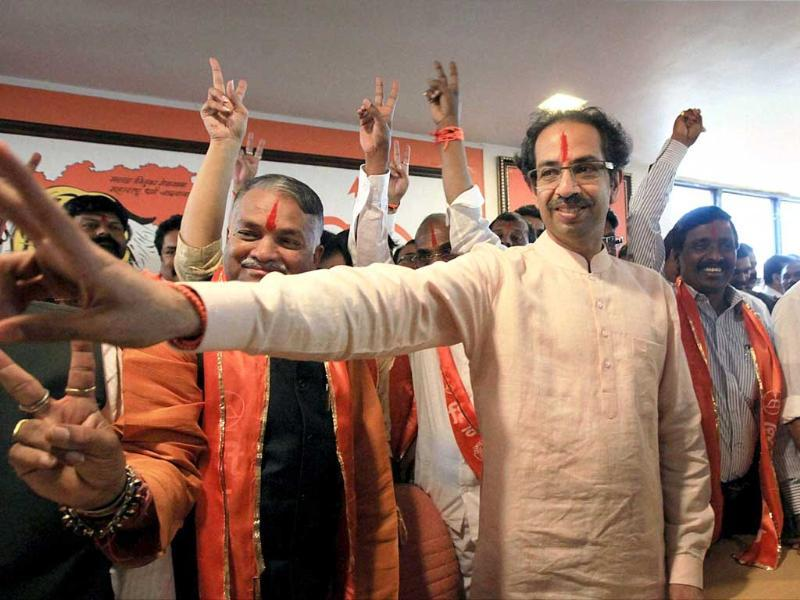 Shiv Sena president Uddhav Thackeray during a meeting after announcing party candidates for the upcoming Loksabha elections, in Mumbai on Tuesday .PTI Photo