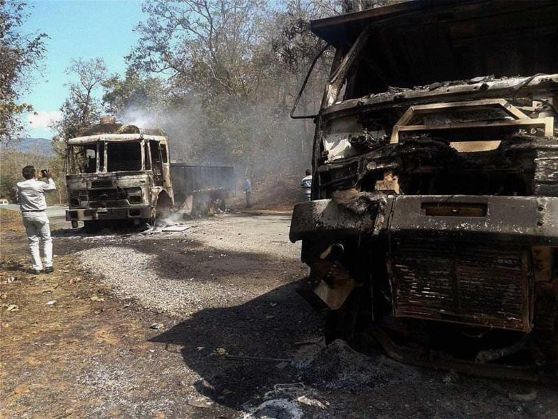 Charred vehicles after Maoists attacked a joint search party of CRPF and police near Tongpal in Sukma district of Chhattisgarh. PTI Photo