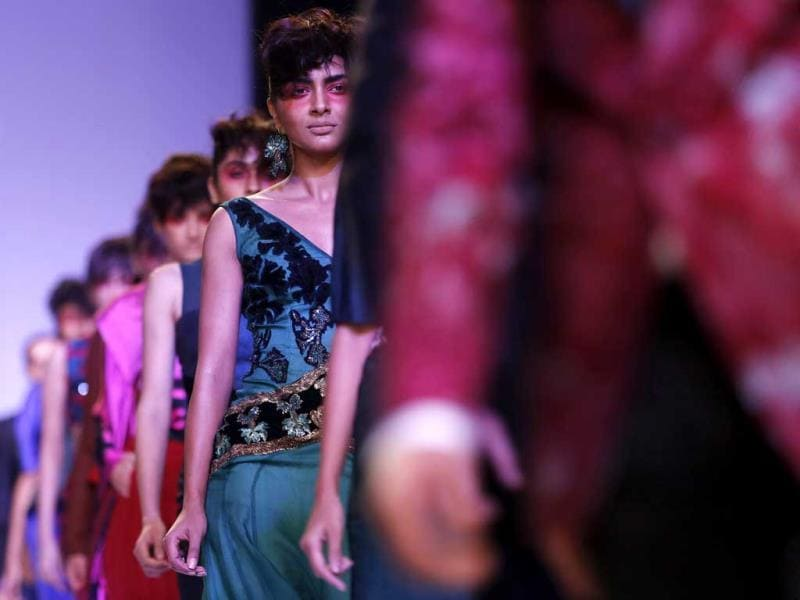 Models display creations by Narendra Kumar during the Lakme Fashion Week. (AP Photo)