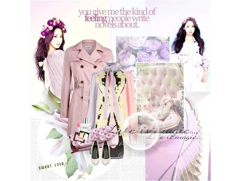FLOWERS IN THE RAIN: Emilio Pucci dress, George at Asda coat, Saint Laurent shoes, Burberry clutch. (©rainie-minnie/PolyvoreSpecial uses : Top Trend: pastel dress/Polyvore)
