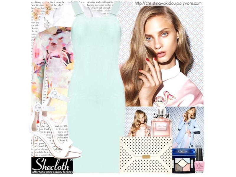 ICED AQUA: Dress via shecloth.com, Ted Baker jacket, white blazer via feeluxury.com, Gianvito Rossi shoes, Stella McCartney clutch, Chanel earrings.(©christinavakidou/Polyvore |Special uses: Top Trend: pastel dress/Polyvore)