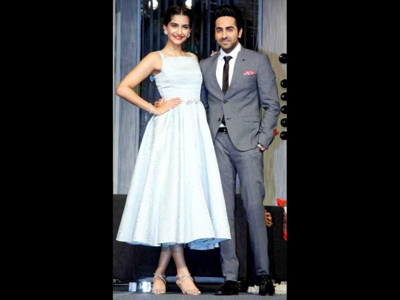 Sonam Kapoor and Ayushmann Khurrana pose for the shutterbugs during the promotion of Bewakoofiyaan. (PTI Photo)
