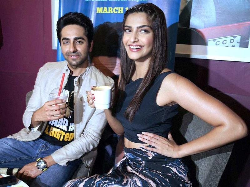 Sonam Kapoor and Ayushmann Khurrana take a coffe break during the promotion of Bewakoofiyaan. (PTI Photo)