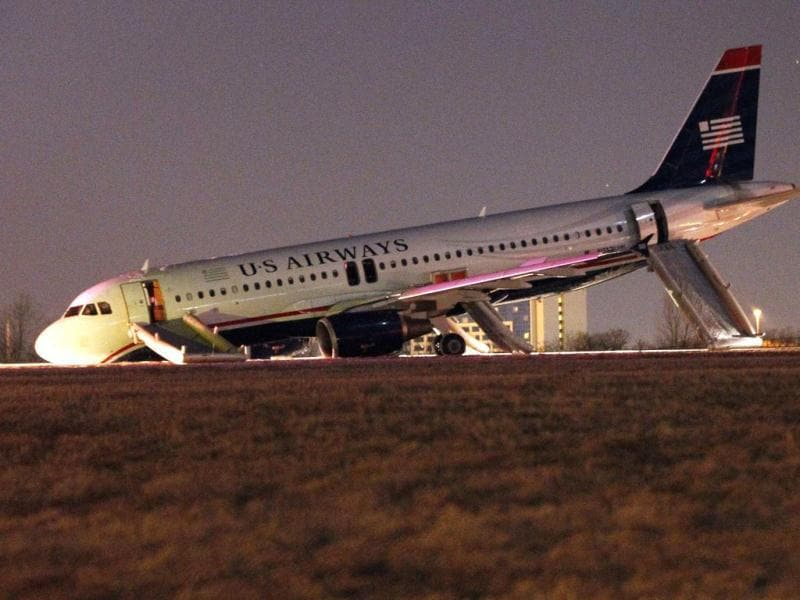 A US Airways plane with a collapsed nose is seen at Philadelphia International Airport. (Reuters Photo)