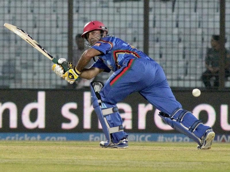 Afghanistan's Shafiqullah plays a shot during their World T20 match against Nepal in Chittagong. (AP Photo)