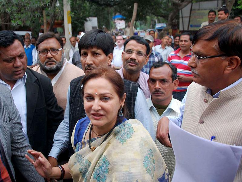 RLD candidate Jaya Prada during her filing of nomination papers. (HT photo)
