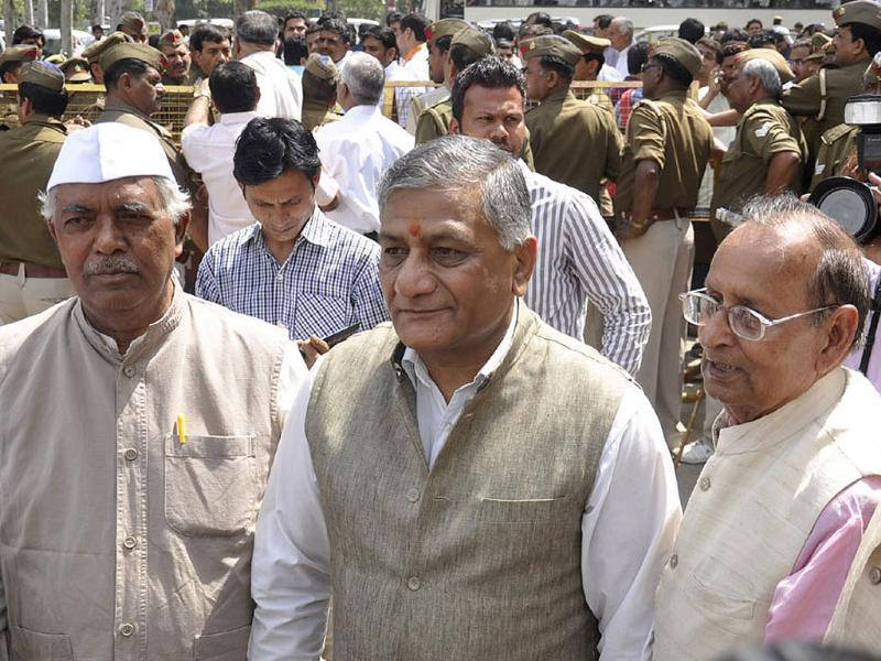BJP's VK Singh files nomination paper at the collectorate office in Ghaziabad. (Photo by Sakib Ali/Hindustan Times)