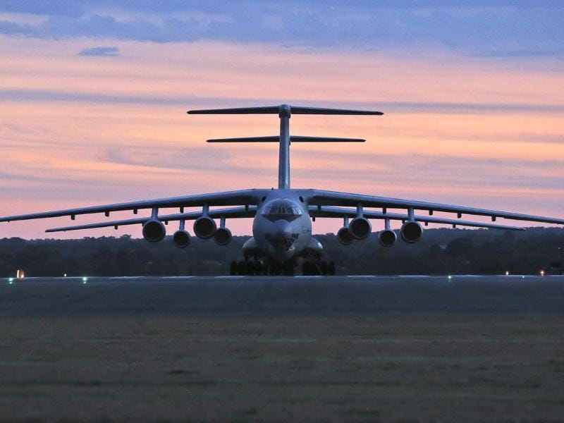 Two Chinese Ilyushin IL-76s aircraft sit on the tarmac at RAAF Pearce base ready to join the search missing Malaysia Airlines flight MH370 in Perth, Australia. (AP photo)