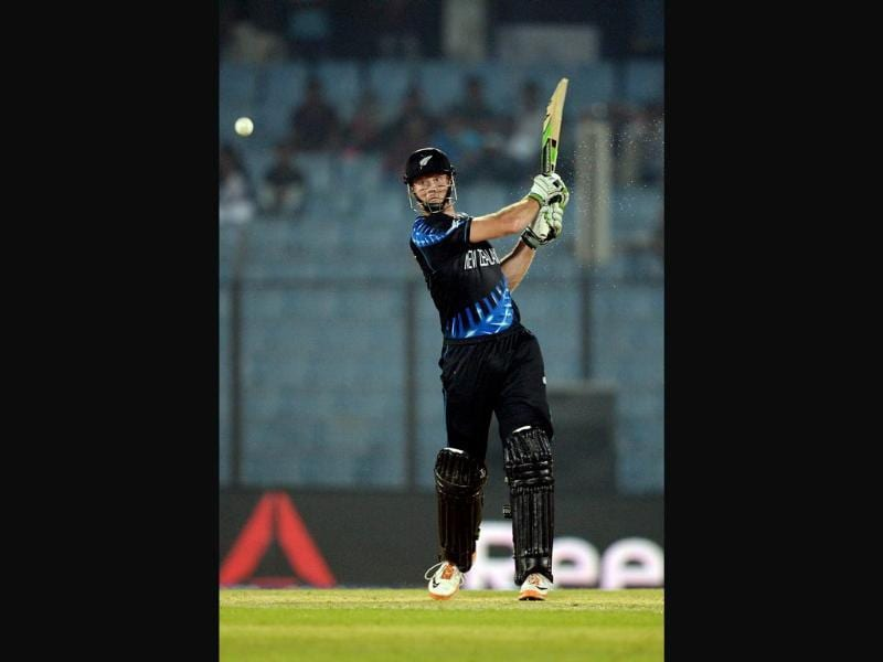 New Zealand's Martin Guptill plays a shot during their ICC World Twenty20 match against England at the Zahur Ahmed Chowdhury Stadium in Chittagong. (AFP Photo)
