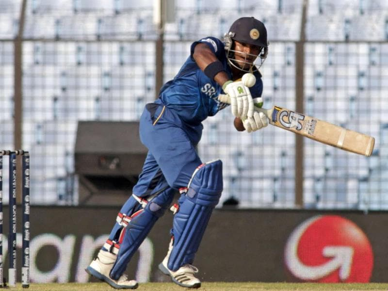 Sri Lanka's Kusal Perera plays a shot during their ICC World Twenty20 match against South Africa in Chittagong. (AP Photo)