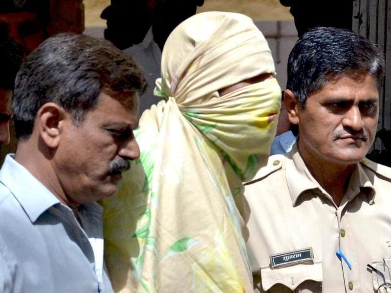 One of the four suspected Indian Mujahideen terrorists arrested by special cell of Delhi Police in Jodhpur. (PTI Photo)