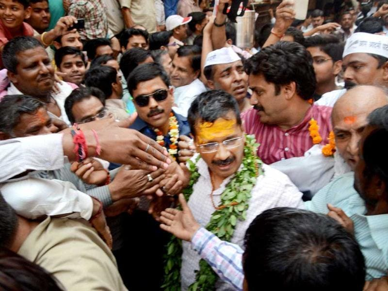 AAP leader Arvind Kejriwal during a visit to the Kaal Bhairav temple in Varanasi. (PTI Photo)