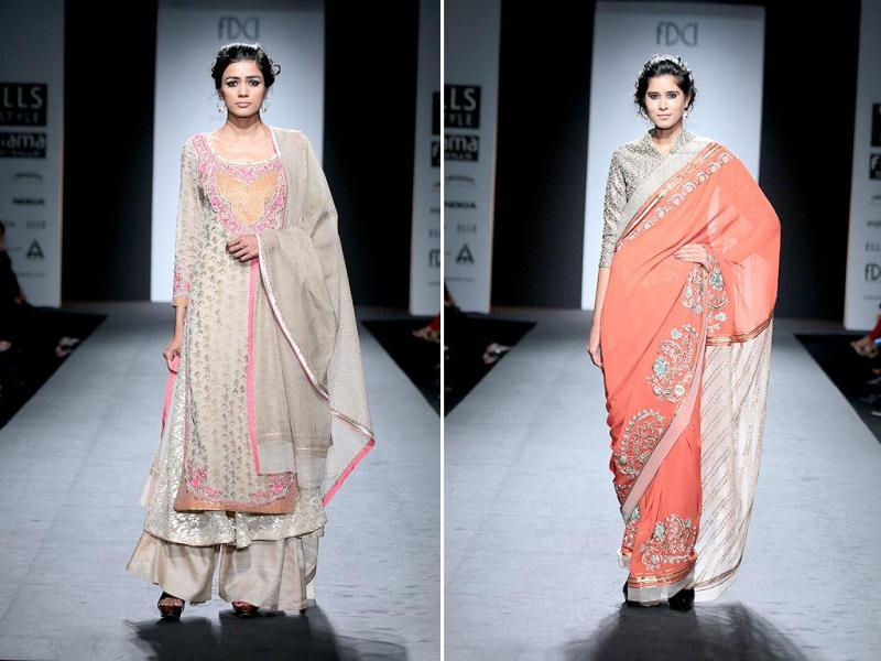 Models present Vineet Bahl's autumn/winter 2014 collection at the Wills India Fashion Week. (HT Photo/ Raajessh Kashyap)