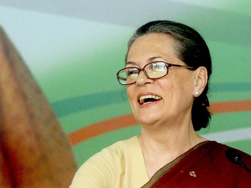 Congress president Sonia Gandhi during the release of the Congress manifesto 2014 for upcoming Lok Sabha election at AICC, New Delhi. (Sanjeev Verma/HT Photo)