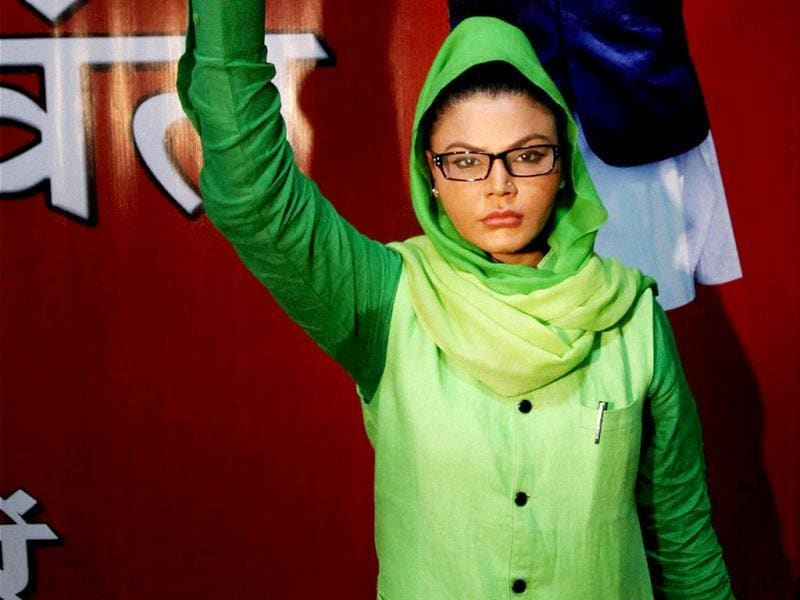 Rakhi Sawant, set to contest Lok Sabha elections from Mumbai North-West constituency as an Independent, at a press conference in Mumbai. (PTI Photo)