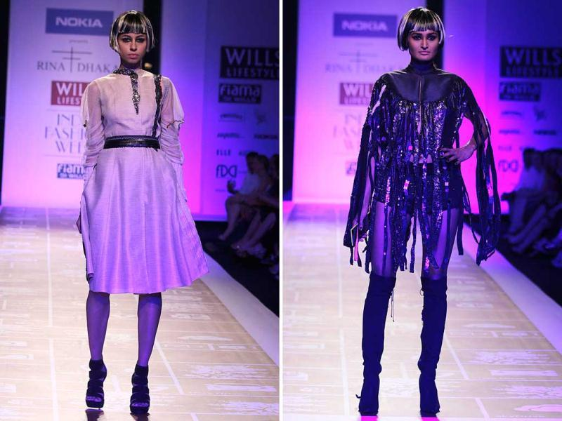 Models at Nokia presents Rina Dhaka show at the runway of Wills Lifestyle India Fashion Week (WIFW) 2014 on Day 1. (HT Photo/ Rajesh Kashyap)