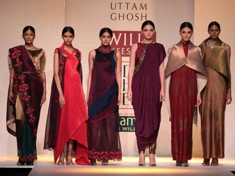 Models at the Kiran Uttam Ghosh show of Wills Lifestyle India Fashion Week 2014. (HT Photo/ Rajesh Kashyap)