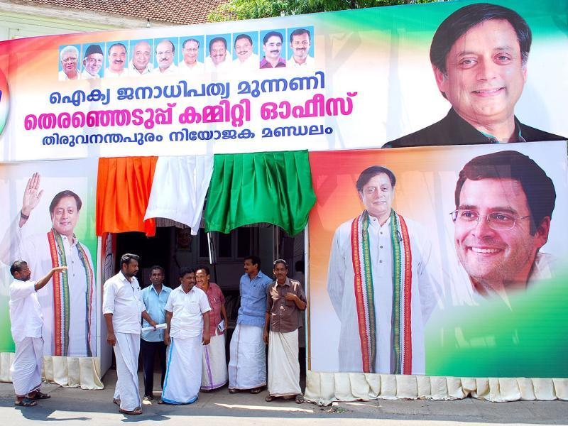 UDF election committee office in Thiruvananthpuram covered with Congress posters. (Vivek R Nair/HT photo)