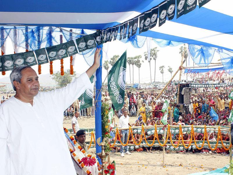 Biju Janata Dal (BJD) president Naveen Patnaik at an election public meet at Purusottampur, in Ganjam district. (Arabinda Mahapatra/HT photo)