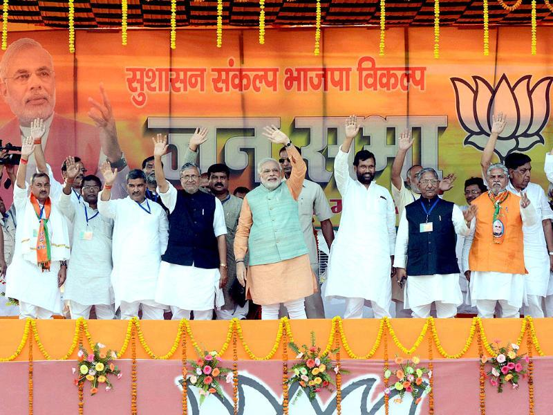 BJP's PM candidate Narendra Modi with LJP chief Ram Vilas Paswan and other BJP-LJP leaders at an election rally in Gaya. (PTI photo)