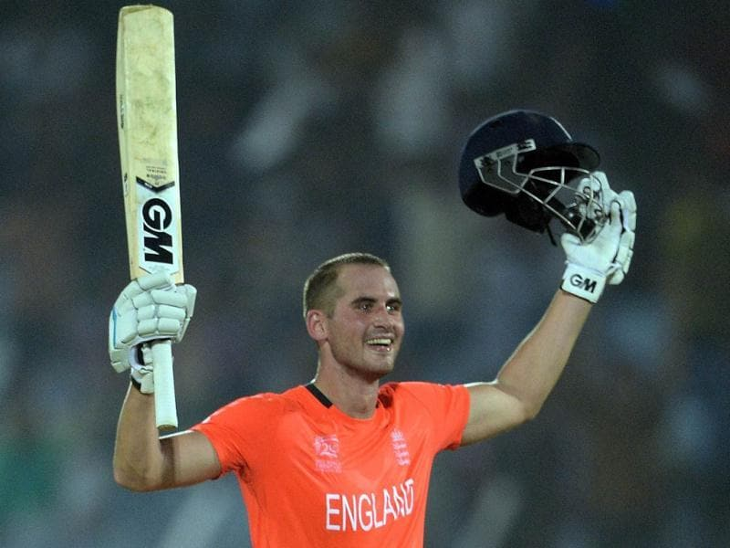 England's Alex Hales celebrates his century during the ICC World Twenty20 match against Sri Lanka at the Zahur Ahmed Chowdhury Stadium in Chittagong. (AFP Photo)