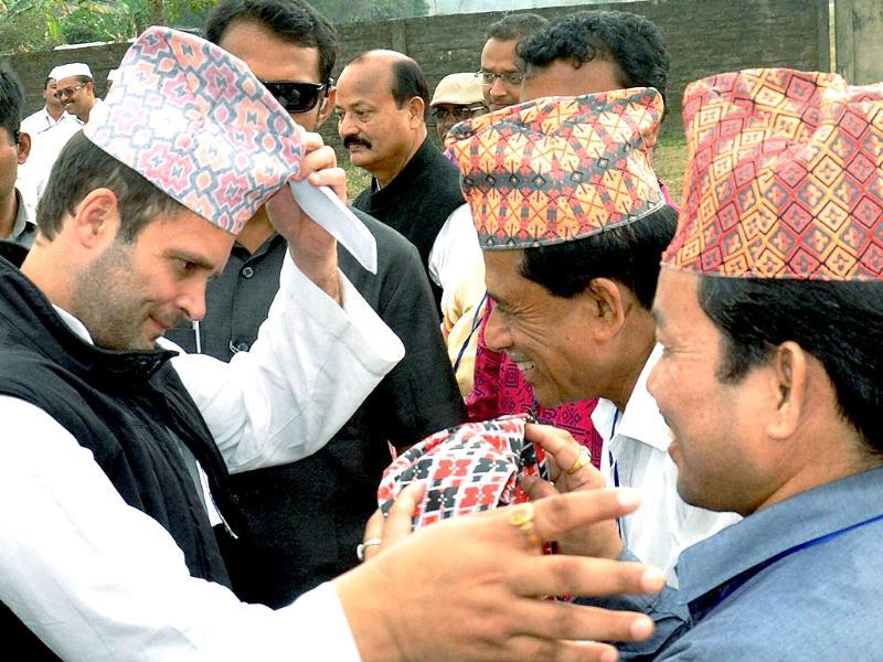 Congress vice president Rahul Gandhi being greeted on his arrival at an election rally at Biswanath Charali in Sonitpur district of Assam (PTI photo)