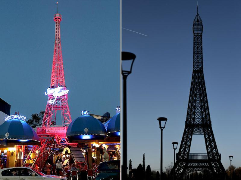 Australia: A tower resembling Paris's Eiffel Tower in Brisbane (left). Spain: Europe Park in Torrejon de Ardoz near Madrid. (AFP)