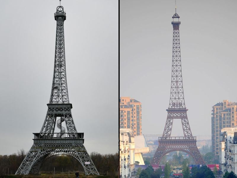 Romania: A 54 meters tall replica of the  on a private tourist complex near Slobozia, about 120 kilometers east of Bucharest. (left). China: A a replica of the Eiffel Tower in Tianducheng, a luxury real estate development located in Hangzhou, east China's Zhejiang province. (AFP)