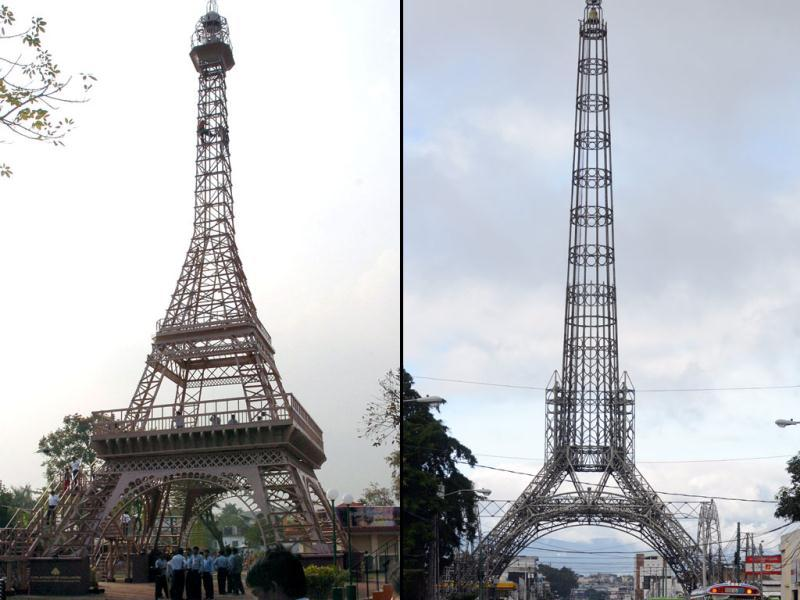 India: An Eiffel Tower replica at Nicco Park, an amusement park in Kolkata (left). Guatemala: View of the Tower of the Reformer in Guatemala City. It is a 71.85-meter-high (235.73 feet) tower built in galvanized iron whose basic structure is a replica of the Eiffel Tower. (AFP)
