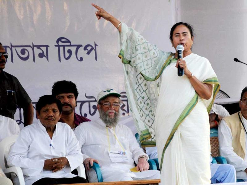 West Bengal chief minister Mamata Banerjee addresses a public rally for the upcoming general elections at Santir Bazar near Agartala. (PTI Photo)