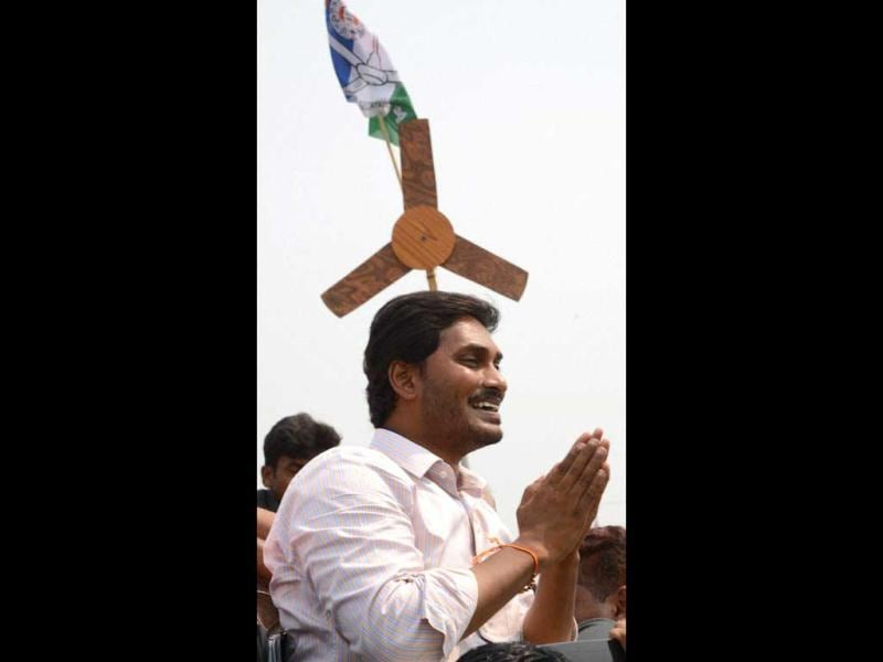 YS Jaganmohan Reddy during a roadshow in Vijayanagaram district of Andhra Pradesh as part of YSR Jana Bheri poll campaign on Tuesday. (PTI Photo)